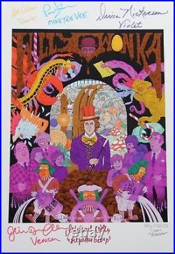 14 X 18 Drew Morrison Wonka Print Autographed By Six + Bonuses