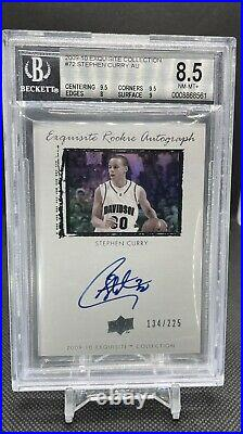 2009 Exquisite Collection #72 ROOKIE RC /225 Stephen Curry BGS 8.5 with 10 AUTO