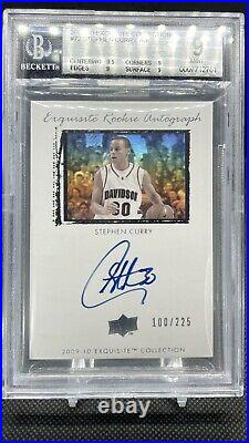 2009 Exquisite Collection #72 ROOKIE RC /225 Stephen Curry BGS 9 MINT with 10 AUTO