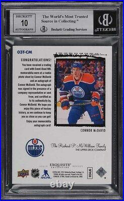 2015 Exquisite Collection'03 Tribute Gold Connor McDavid RC PATCH AUTO /5 BGS 9