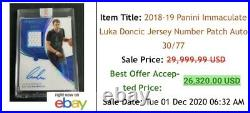 2018 Immaculate Collection LUKA DONCIC /24 FOTL Premium Edition RC Patch Auto