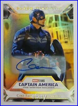 2021 Marvel Black Diamond GOLD Autograph CHRIS EVANS as CAPTAIN AMERICA Auto /25