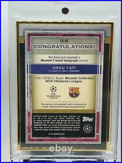 2021 Topps Museum Collection UEFA Ansu Fati Gold Framed Auto 19/25