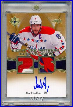 ALEX OVECHKIN 2015-16 Ultimate Collection Gold Game Used Logo Patch Auto 7/15