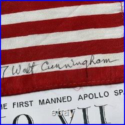 APOLLO 7 Walt Cunningham Personal Collection Signed FLOWN US Flag Autograph