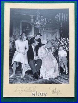 Antique Signed Royal Presentation Photo Queen Elizabeth II & Prince Philip 1965