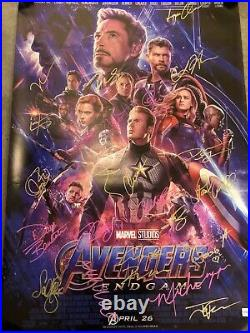 Authentic Hand Signed Avengers Poster 24 Cast Members With Certificate