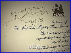 Autographed HAILE SELASSIE I Emperor of Ethiopia & Ambassador Dinka 1 Invitation