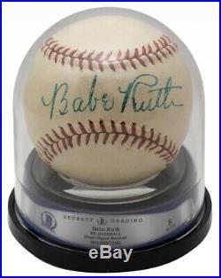 Babe Ruth Yankees Signed Reach Special League Baseball JSA LOA + BAS Graded 8