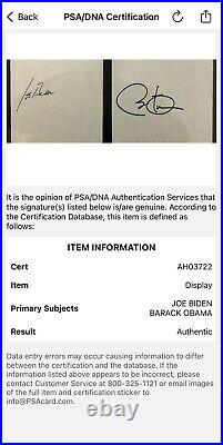 Barack Obama Joe Biden Signed Autographed Framed Cut PSA /DNA AUTHENTICATION WOW