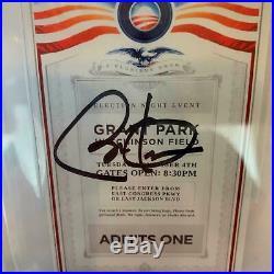 Barack Obama Signed Election Night 11-4-2008 Grant Park Ticket Beckett GEM MINT