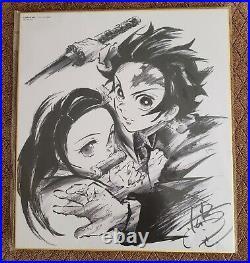 Demon Slayer Kimetsu no Yaiba Nezuko Tanjiro Shikishi Art Board Autograph Sign