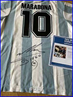 Diego Maradona Autographed Jersey Fifa World Cup Icons Collection COA
