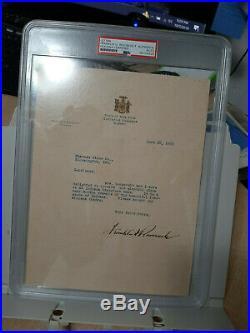 FDR Franklin Delano Roosevelt TLS Signed Autographed Letter PSA/DNA Encapsulated