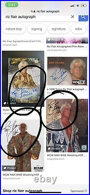 Funko Pop Ric Flair Red Robe #63 Autographed Signed Vinyl With Protector WWE NEW