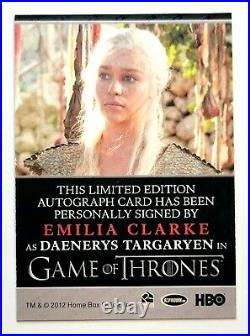Game of Thrones Emilia Clarke Autographed (INV1007) Limited Edition Gem Mint