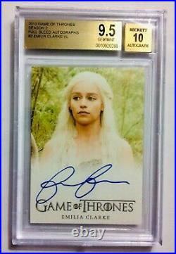 Game of thrones Season 2 EMILIA CLARKE Daenerys Targaryen BGS PERFECT AUTOGRAPH