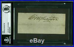 George Washington Authentic Signed 2x4.5 Cut Signature Autographed BAS Slabbed