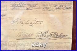 George Washington & Thomas Jefferson Signed 12.75x16 1793 Ship's Passport BAS