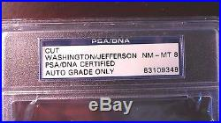 George Washington/Thomas Jefferson signed cut Three Languages PSA 8 bold, brite