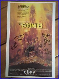 Goonies 11x17 Poster CAST Signed x5 Feldman, Astin & Cohen. Rare Authentic Item