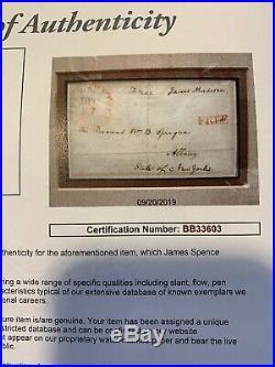 James Madison Signed Free Frank JSA LOA