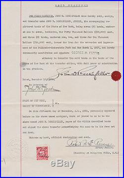 John D. Rockefeller AUTOGRAPH 1920 John D. Signed 380.000 US$ Deed of Transfer
