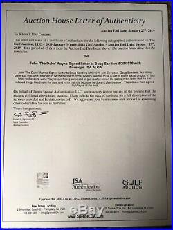 John Wayne Autographed Letter to Doug Sanders PGA Golfer JSA ALOA Extremely Rare