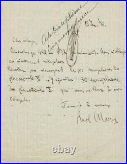KARL MARX Authentic Autograph Letter Signed re Das Kapital GUARANTEED AUTHENTIC