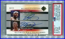 LeBron James Michael Jordan 2005-06 Ultimate Collection AUTO Dual Signed PSA 9