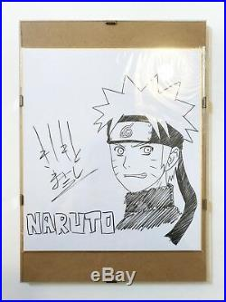 MASASHI KISHIMOTO Hand Signed NARUTO Drawing + Glass Frame EXTREMELY RARE
