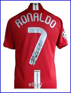 Man Utd 2008 Champions League Shirt Signed By Cristiano Ronaldo 100% With COA
