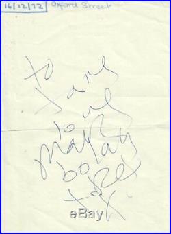 Marc Bolan (t Rex 1972) Signed Autograph