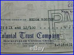 Marilyn Monroe Signed Check To Longtime Friend & Secretary Hedda Rosten May 1959