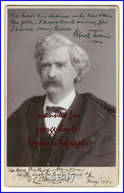Mark Twainsigned Twicecabinet Photograph 1898