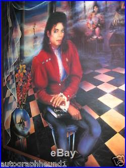 Michael Jackson Signed Autographed 30x40 Serigraph The Book 3/375 Jsa Coa Loa