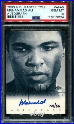 Muhammad Ali Autograph 2000 Upper Deck Master Collection #ed /50 #AliA5 PSA 10