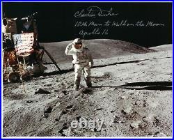 NASA Charlie Duke Apollo 16 Signed Lunar Surface Photo 10th Man to Walk on Moon