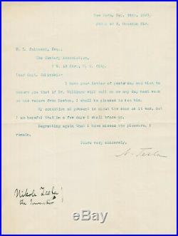 Nikola Tesla SIGNED Autographed Letter to Edmund Zalinski 1897 Great Provenance