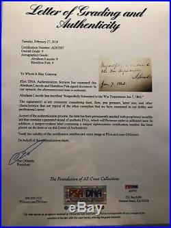 President Abraham Lincoln / Hamilton Fish Signed Letter Jsa & Psa Mint 9 Auto