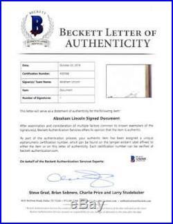 President Abraham Lincoln Signed 1862 Civil War Document Beckett BAS