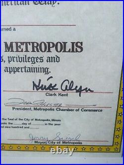 Rare 1972 Signed Superman Metropolis Award Joe Shuster Jerry Siegel Kirk Alyn
