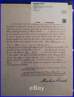 Rare President ABRAHAM LINCOLN Signed Executive MansionLetterhead 1863 PSA/JSA