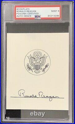 Ronald Reagan Signed Bookplate President Autograph PSA/DNA Auto MINT 9 Slab Nice