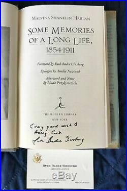 Ruth Bader Ginsburg Autographed Inscribed Book with Business Card