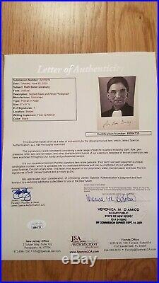 Ruth Bader Ginsburg RBG Autograph JSA Certificate Signed
