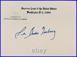 Ruth Bader Ginsburg signed autograph personal Supreme Court Chamber card. RARE