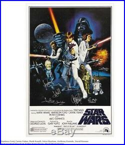 STAR WARS cast signed poster HARRISON FORD Mark HAMILL FISHER Peter Mayhew x6