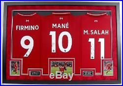 Salah Mane & Firmino Signed & Framed Liverpool F. C. Jerseys AFTAL COA
