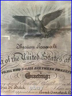 Teddy Roosevelt Signed Military Appointment Document RARE LOOK! Museum Glass